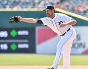 Tigers pitcher Matt Moore snagged this come-backer in the first inning last Saturday against the Royals. Moore is trying to rehab a knee injury to avoid surgery.