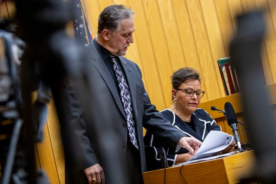 Assistant Attorney General Scott Teter questions Paulette Granberry Russell, director of the Office for Inclusion and Intercultural Initiatives, during ex-MSU president Lou Anna Simon's preliminary hearing at the Eaton County Courthouse in Charlotte, Michigan, on Tuesday, April 9, 2019.