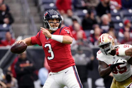 Tom Savage is 2-7 as an NFL starter, completing 181 of 315 passes for 2,000 yards and five touchdowns against seven interceptions.