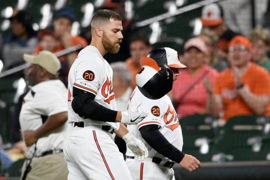 Baltimore's Chris Davis reacts after he strikes out Monday night.