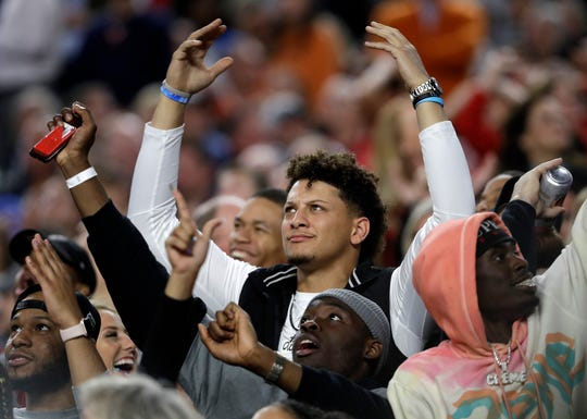Kansas City Chiefs quarterback Patrick Mahomes reacts during the second half of his Texas Tech team's national-championship game with Virginia.