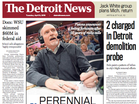 The front page of The Detroit News on Tuesday, April 9, 2019.