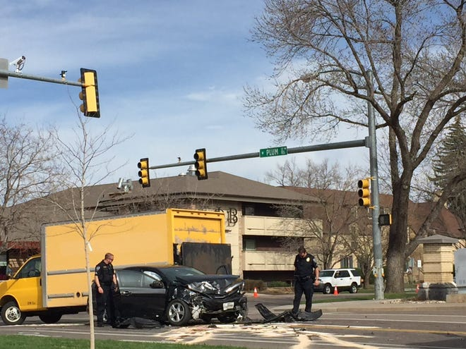 A crash at Shields and Plum Streets in Fort Collins closed Plum Street to eastbound traffic Tuesday morning. The crash involved three vehicles, including a Transfort bus, according to police.