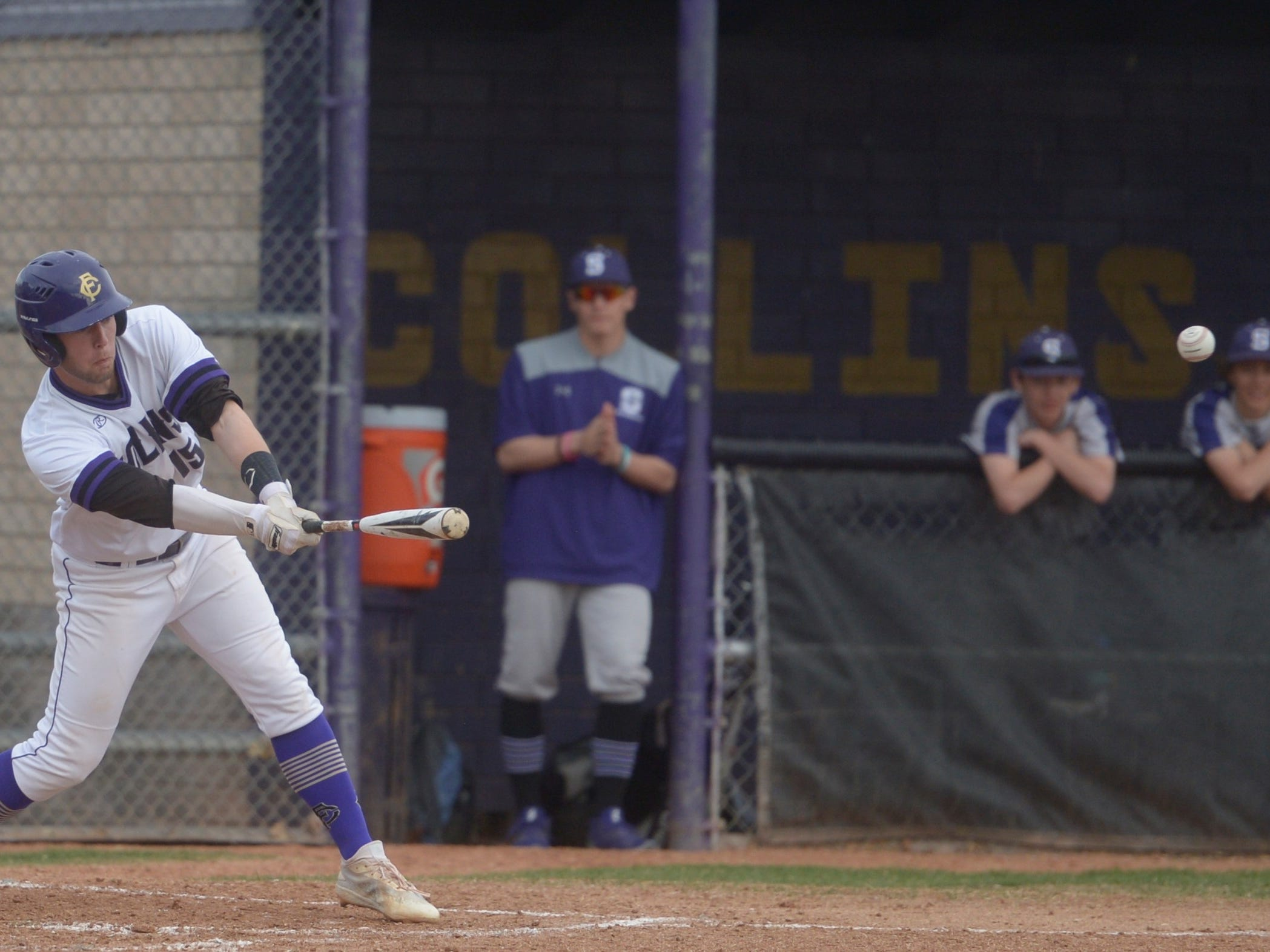 Fort Collins High School second baseman Caleb Brlecic with an RBI hit during a game against Denver South on Monday, April 8, 2019. The Lambkins won 13-3 to move to 10-0 on the season.