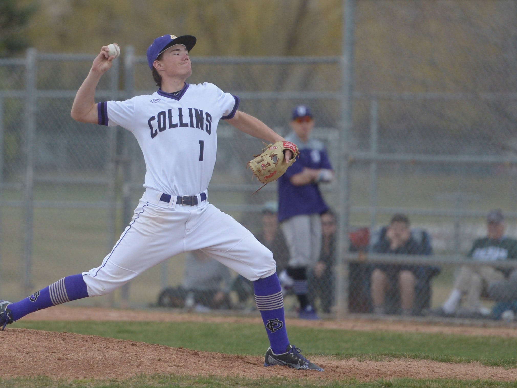 Fort Collins High School baseball pitcher Jonah Meadows pitches during a game against Denver South on Monday, April 8, 2019. The Lambkins won 13-3 to move to 10-0 on the season.