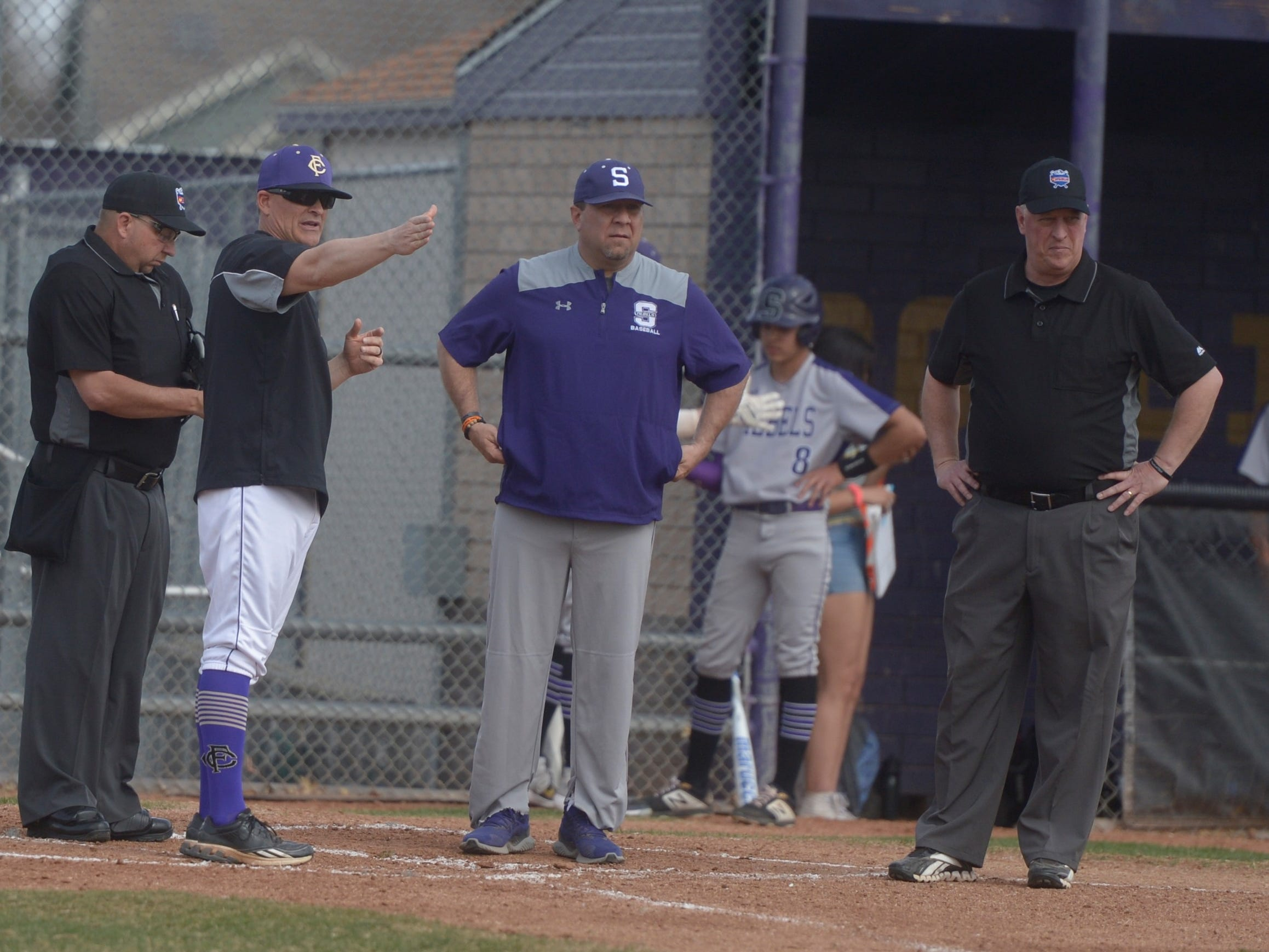 Fort Collins High School baseball coach Marc Wagner before a game against Denver South on Monday, April 8, 2019. The Lambkins won 13-3 to move to 10-0 on the season.