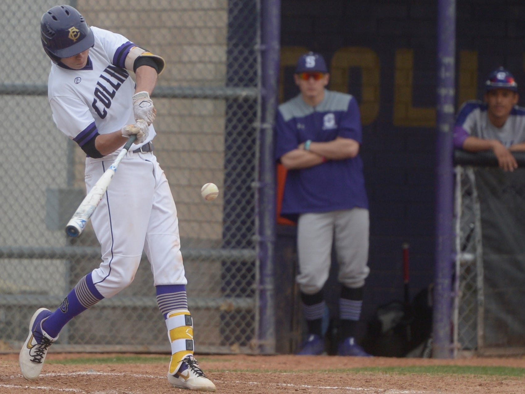 Fort Collins High School baseball center fielder Colby Shade hits a triple during a game against Denver South on Monday, April 8, 2019. The Lambkins won 13-3 to move to 10-0 on the season.