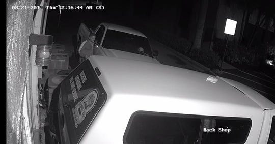 Cape Coral Police are searching for a suspect that on March 21 damaged two vehicles that were in the back parking lot of Club Square.