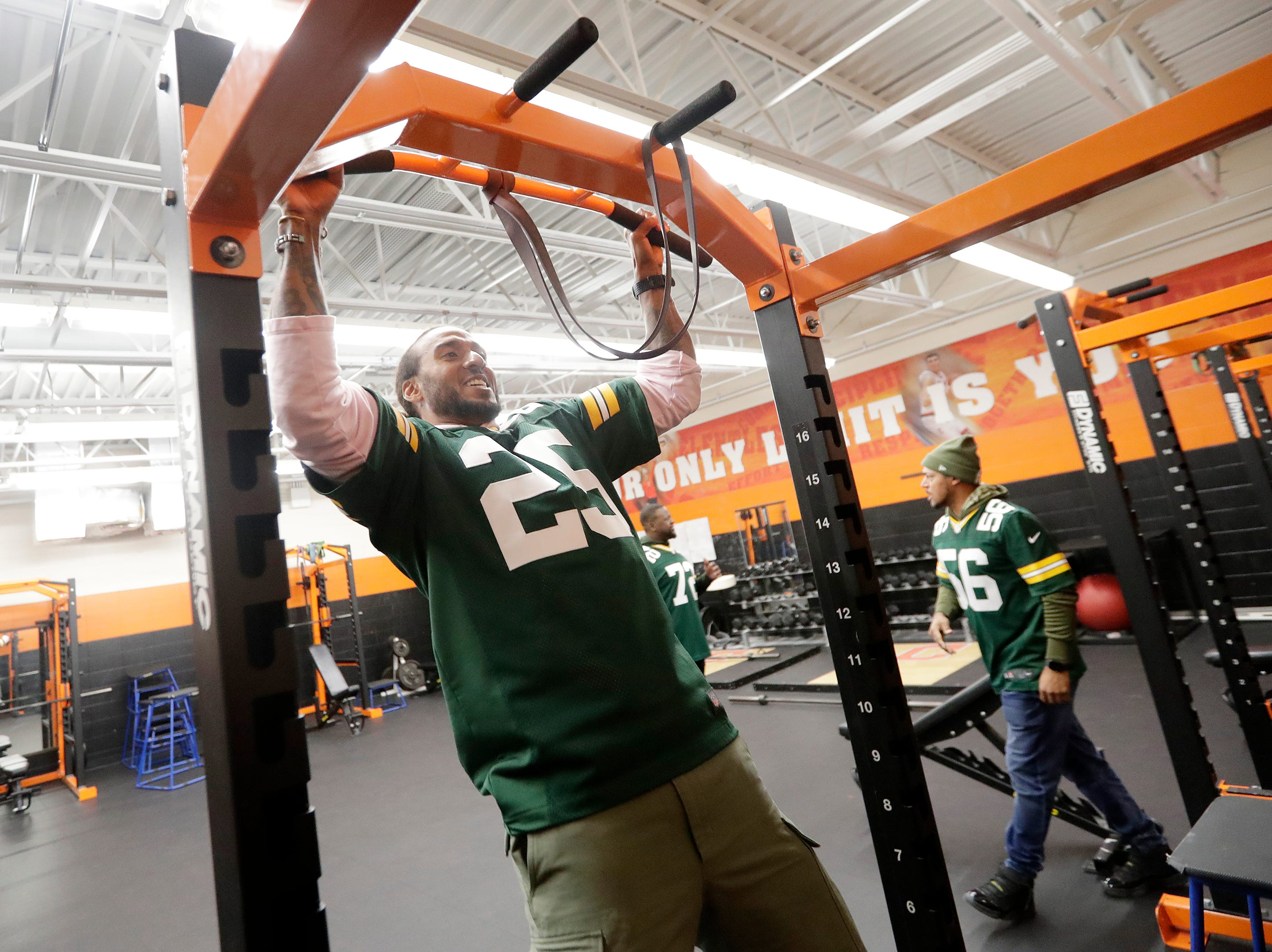 Former Green Bay Packers player Ryan Grant checks out the weight room during a stop on the Packers Tailgate Tour at Clintonville High School on Tuesday, April 9, 2019 in Clintonville, Wis.
