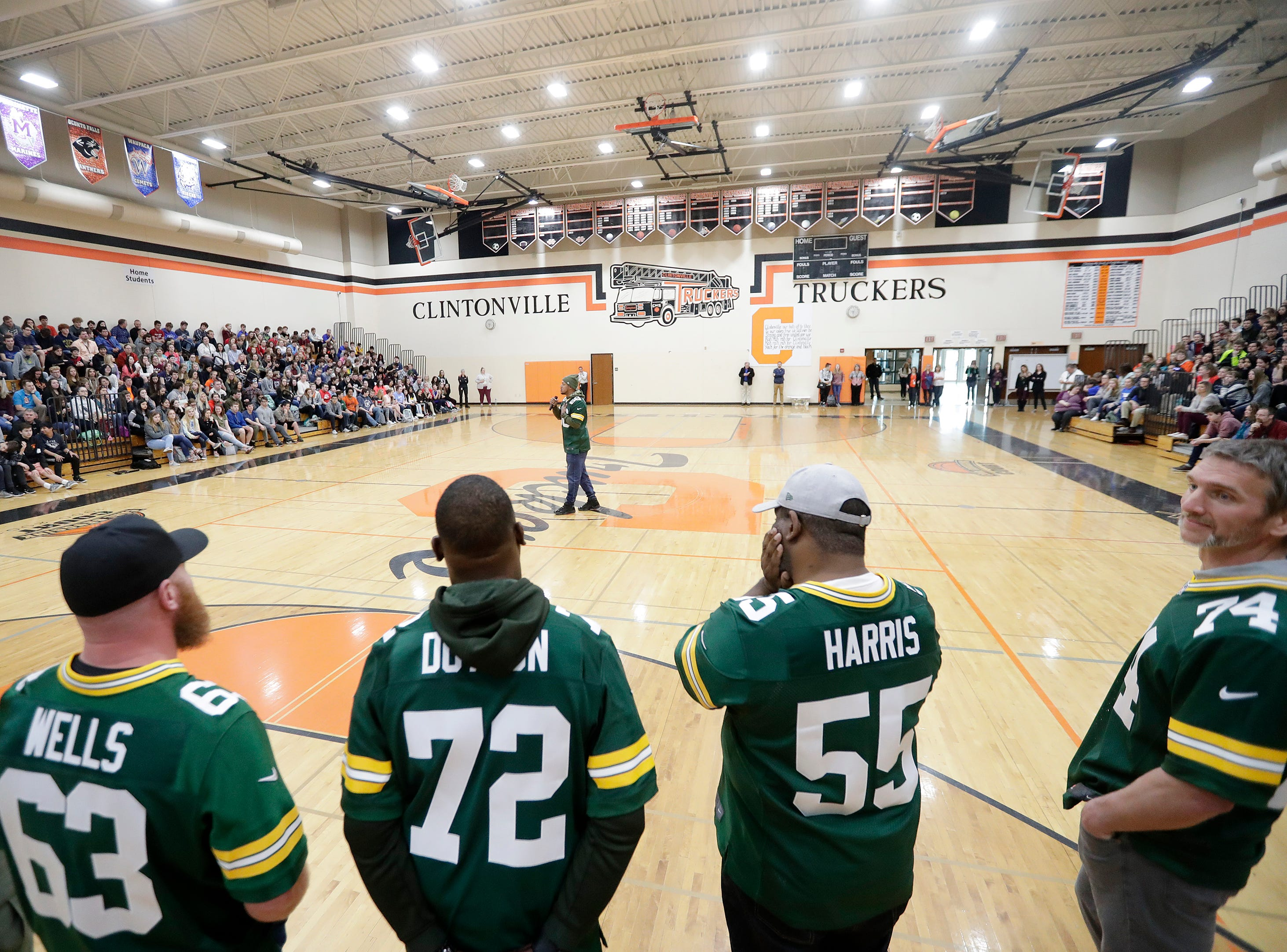 Former Green Bay Packers players stop on the Packers Tailgate Tour at Clintonville High School on Tuesday, April 9, 2019 in Clintonville, Wis.