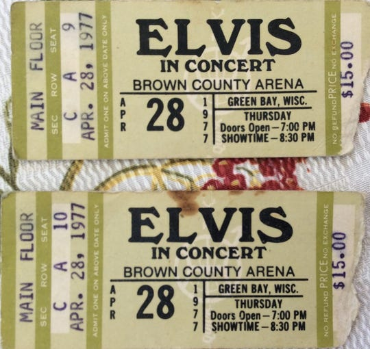Shirley Romsos was in her 20s when she was first in line to get tickets for Elvis Presley's 1977 concert at Brown County Veterans Memorial Arena. She waited for more than 22 hours to get front row seats.