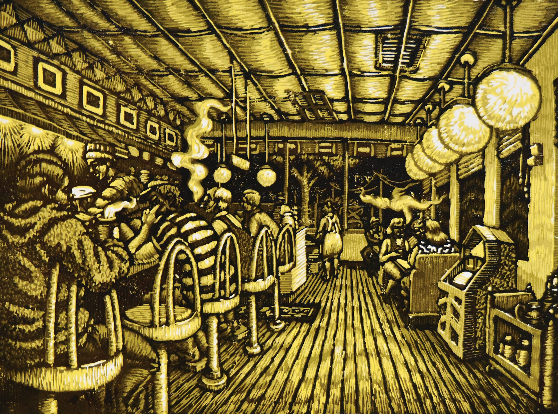 A reduction linocut by Mark Mulfinger.
