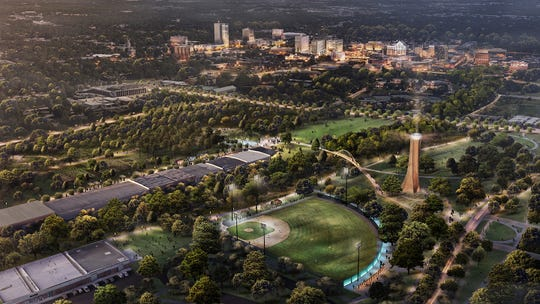 A rendering of a birds-eye view of a Unity Park west of downtown Greenville.