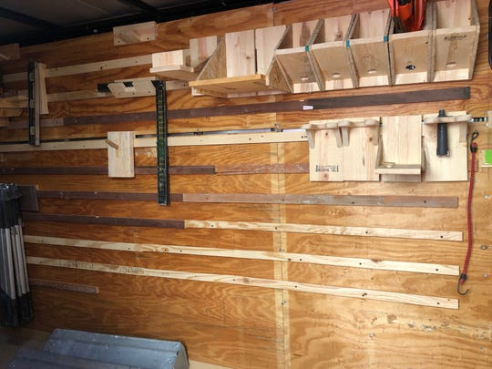 Empty shelves and hangars line a tool trailer at Habitat for Humanity after thieves struck -- for the second time in six months.