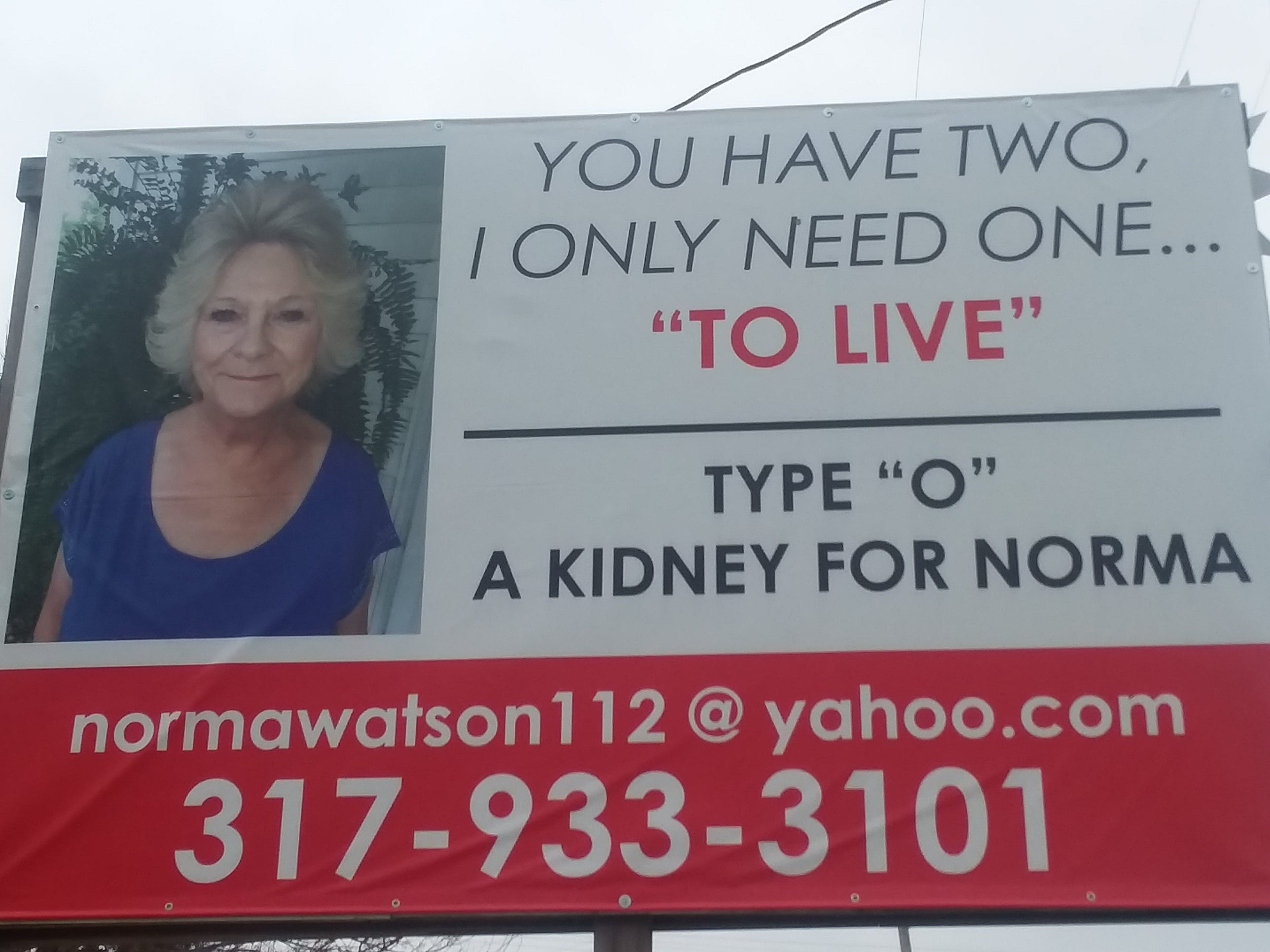 'You have two. I only need one': Indiana grandmother runs billboard for a kidney donor