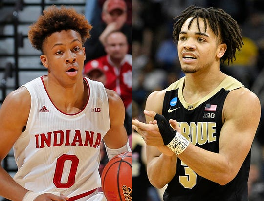 Romeo Langford of IU (left) and Carsen Edwards of Purdue have made themselves eligible for the NBA Draft.