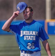 Indiana State University's pitcher Tyler Whitbread at Bob Warn Field at Sycamore Stadium in Terre Haute IN., on Apr. 2, 2019.
