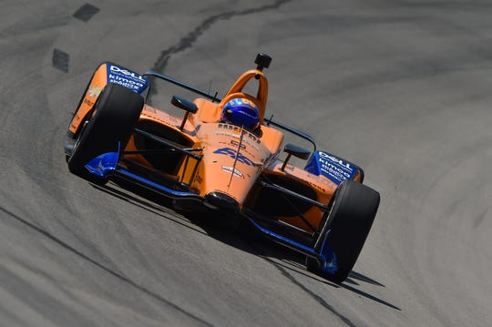 Fernando Alonso races around Texas Motor Speedway in his No. 66 McLaren Indy Chevrolet during Tuesday's test. The two-time Formula One world champion will take his second crack at the Indianapolis 500 this May.