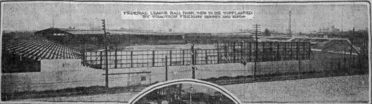 In 1917, the 3 year-old Federal League Park was slated for demolition. The park was built on the site of the former Greenlawn Cemetery.