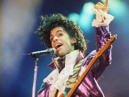 Prince is pictured during a 1985 performance in Los Angeles.