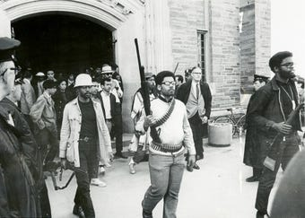 In 1969, a group of Cornell University students took over a campus building to protest race issues on the Ithaca campus.