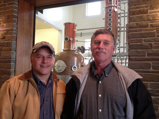 Joe Myer, left, and his brother John Myer are in their seventh year of production at Myer Farm Distillers in Ovid.