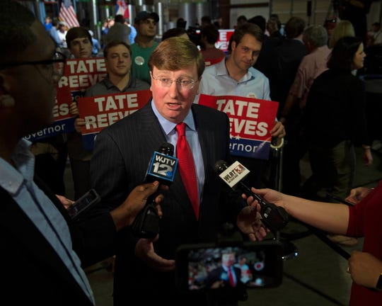Mississippi Lt. Gov. Tate Reeves speaks to members of the media following his gubernatorial campaign kick off event at Climate Masters in Pearl, MS. Monday, April 8, 2019.