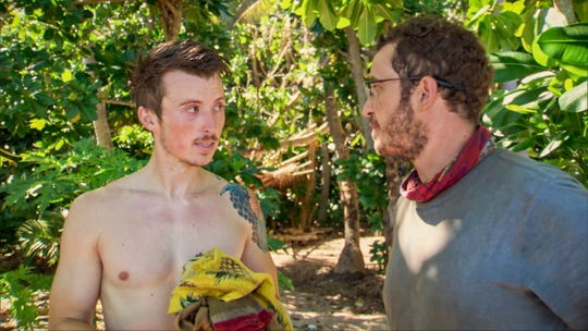 """Gavin Whitson and Rick Devens talk in an episode of """"Survivor: Edge of Extinction."""""""