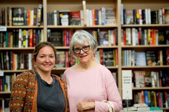 Store business manager Bunnie Presswood and her mother Flossie pose for a photo at Union Ave. Books in downtown Knoxville, Tennessee on Tuesday, April 9, 2019.