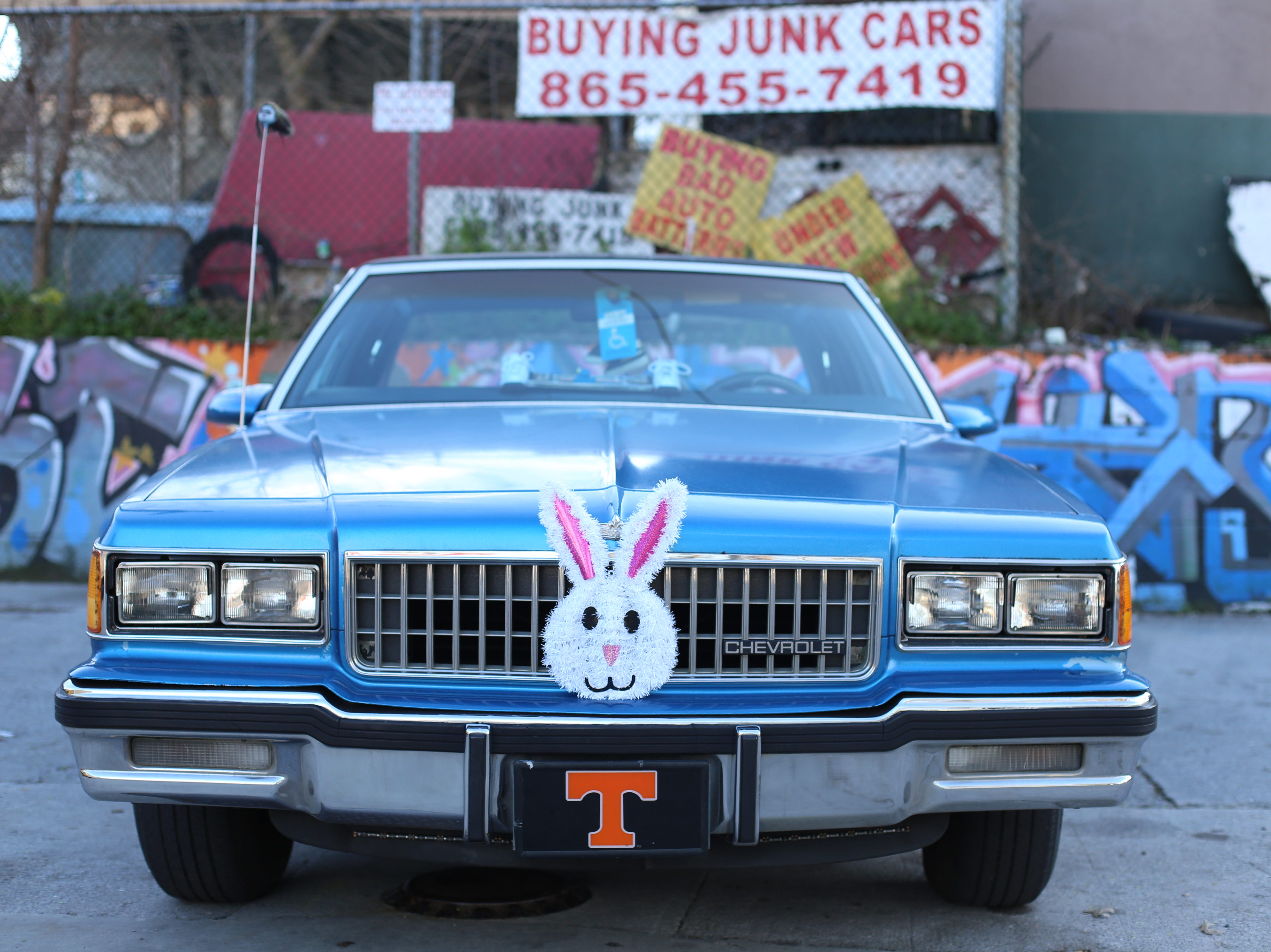 Holly Rainey captured this photo of a vintage Chevrolet with her Canon 6D camera. The car's owner, Marshall, decorates his Caprice with decorations for every holiday, like this bunny Easter.