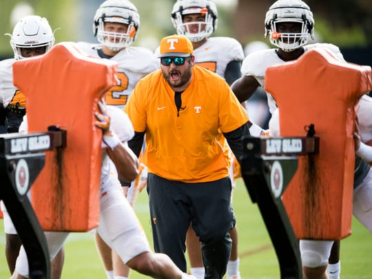Tennessee tight ends coach Brian Niedermeyer during Tennessee's afternoon football practice on Tuesday, April 9, 2019.