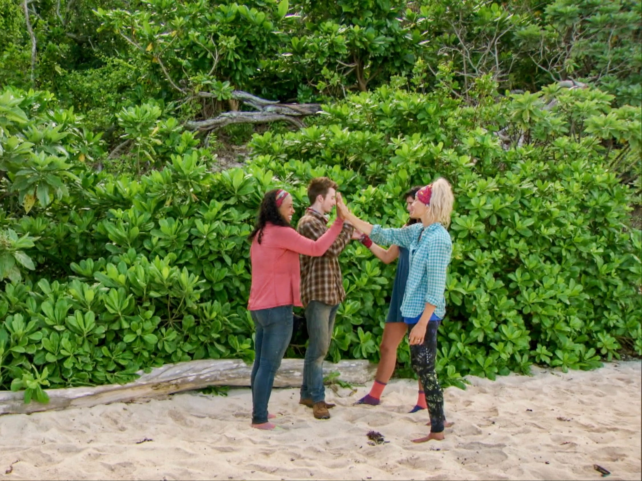 "From left are Julia Carter, Gavin Whitson, Lauren O'Connell and Kelly Wentworth on ""Survivor: Edge of Extinction."""