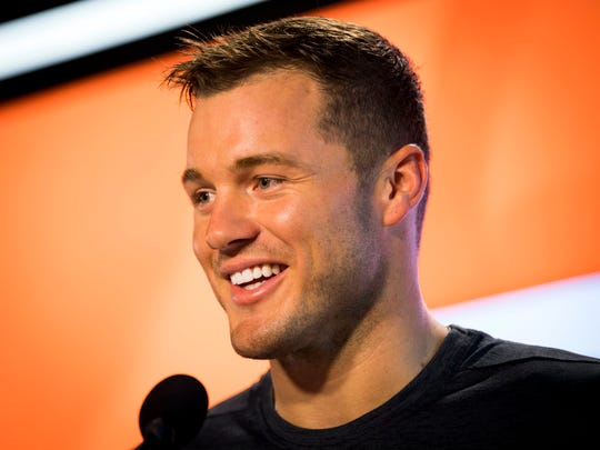 "Colton Underwood from ABC's ""The Bachelor"" answers questions April 9, 2019, at the Brenda Lawson Athletics Center on the University of Tennessee's campus."