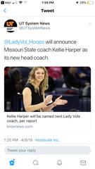 Screenshot of tweet from UT System News on Kellie Harper