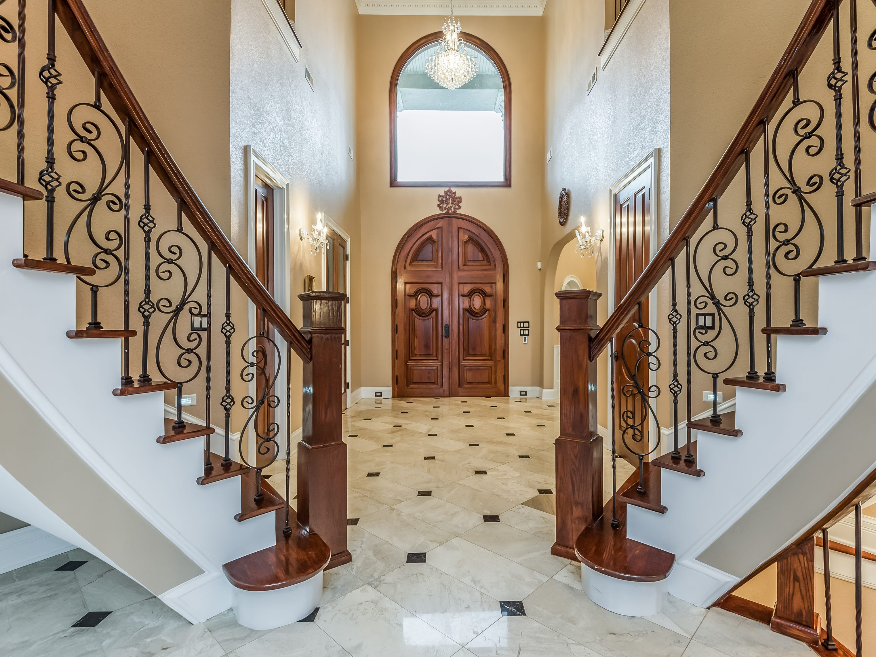 The entrance of the mansion at 1439 Charlottesville Blvd. has two staircases.