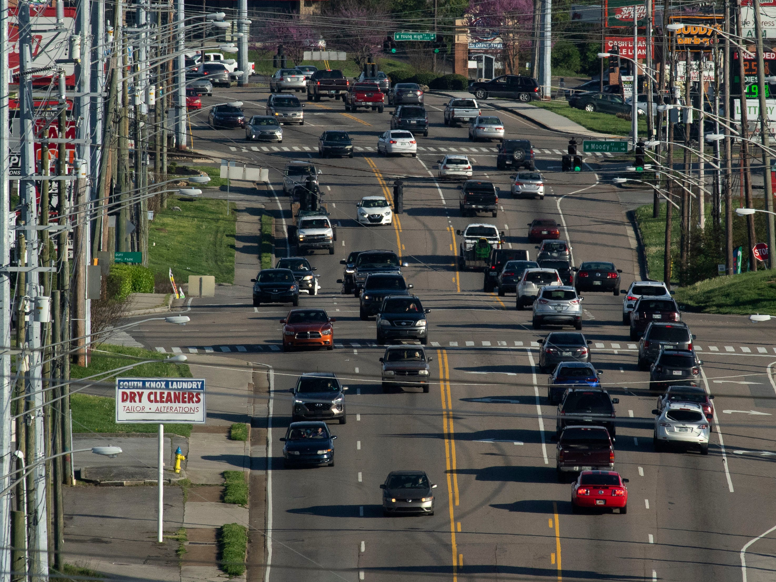 Traffic at Moody Ave. on Chapman Highway on Tuesday, April 9, 2019.