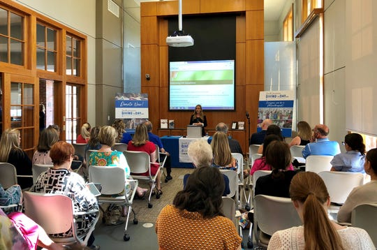 Lauren Breaux, civic leadership coordinator for the Community Foundation of Acadiana, talks to local nonprofits Tuesday in advance of South Louisiana Giving Day, which is May 9.