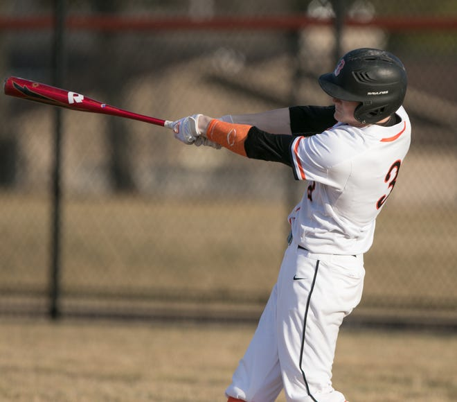 Brighton's Zach Hopman hit three home runs and drove in seven runs in the second game of a doubleheader at Plymouth on Wednesday.