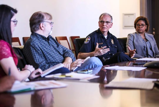 LMPD Chief Steve Conrad talks with Courier Journal reporters and editors about the controversial stop of a black teen, who was handcuffed after being stopped by LMPD after making a wide turn. April 9, 2019