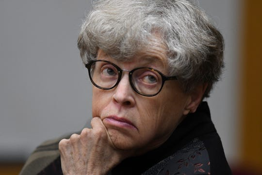 Former MSU President Lou Anna Simon appears in District Judge Julie Reincke's courtroom, Tuesday, April 9, 2019, in Charlotte, Michigan for the third day of her preliminary hearing.   Simon faces four charges, including two felonies, because investigators say she lied to police about when she knew about a sexual assault report against former MSU doctor Larry Nassar.  [USA Today Network/Matthew Dae Smith/Lansing State Journal]