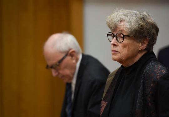 Standing next to her attorney Mayer Morganroth, former MSU President Lou Anna Simon appears in District Judge Julie Reincke's courtroom, Tuesday, April 9, 2019, in Charlotte, Michigan for the third day of her preliminary hearing.   Simon faces four charges, including two felonies, because investigators say she lied to police about when she knew about a sexual assault report against former MSU doctor Larry Nassar.  [USA Today Network/Matthew Dae Smith/Lansing State Journal]