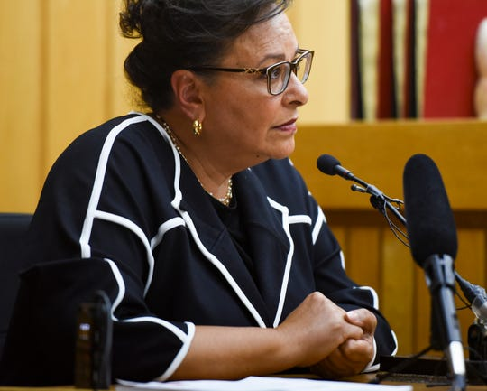 Paulette Granberry Russell testifies in Eaton County Judge Julie Reincke's courtroom, Tuesday, April 9, 2019, in Charlotte, Michigan.  Granberry Russell was head of MSU's Title IX office when the complaint was filed,  and one of Simon's senior advisers.  [USA Today Network/Matthew Dae Smith/Lansing State Journal]