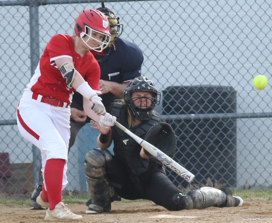 Plymouth's Morgan Chaffins delivered a walk-off home run in a win over Monroeville and smashed another on Monday in a win over New London to keep the Lady Big Red at No. 2 in the Richland County Softball Power Poll.