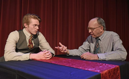 Justus Bartman and Gary Kennedy rehearse a scene from Glengarry Glen Ross on Monday evening at Ohio State University Mansfield.