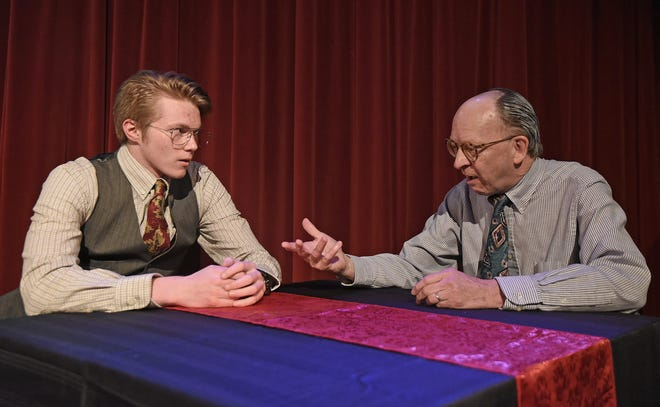 """Justus Bartman and Gary Kennedy rehearse a scene from """"Glengarry Glen Ross,"""" a prior production at Ohio State University-Mansfield."""