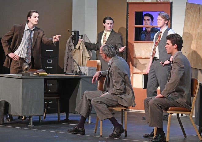 The cast of Glengarry Glen Ross run a scene Monday night at Ohio State university Mansfield.