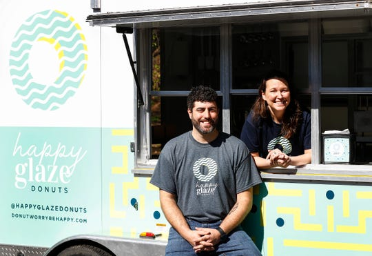 Happy Glaze Donuts, Owner Krissy Johnson (right) and Jake Gaines, Chief Donut Officer, will start offering their mini donuts through a food truck next week and will open a retail store in Germantown later this year.