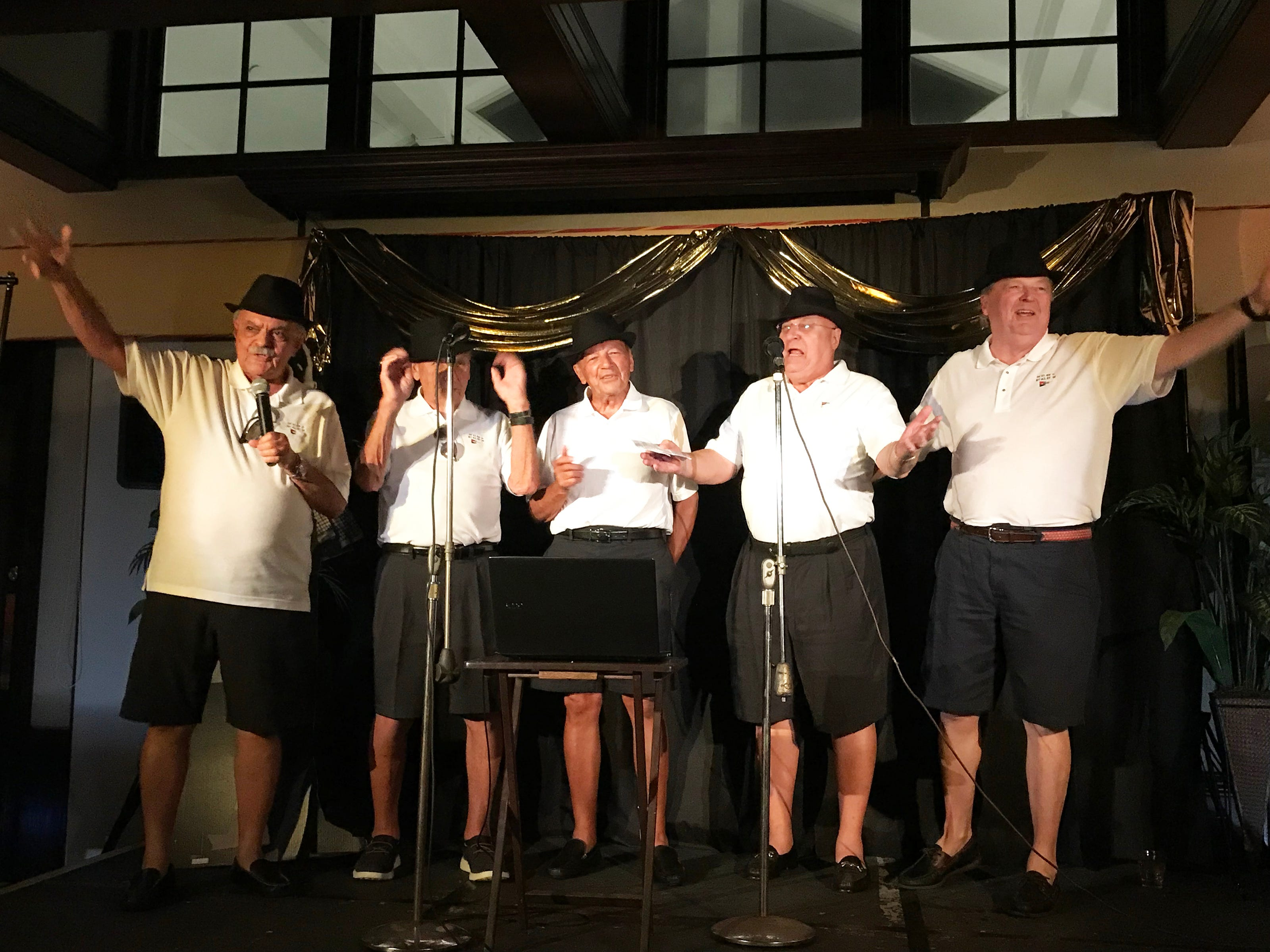 "Dick Pantano and the Mywayzzz did it their way as they sang Frank Sinatra's favorite song ""My Way."" From left,  Dick Pantano, Harvey Cohen, Don Deganutti, Bob Aber and Jon Holt."