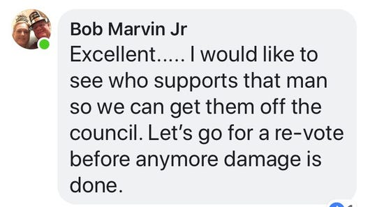 Marco Island police officer Bob Marvin's comments on Facebook page criticizing the city for forcing Police Chief Al Schettino to retire.