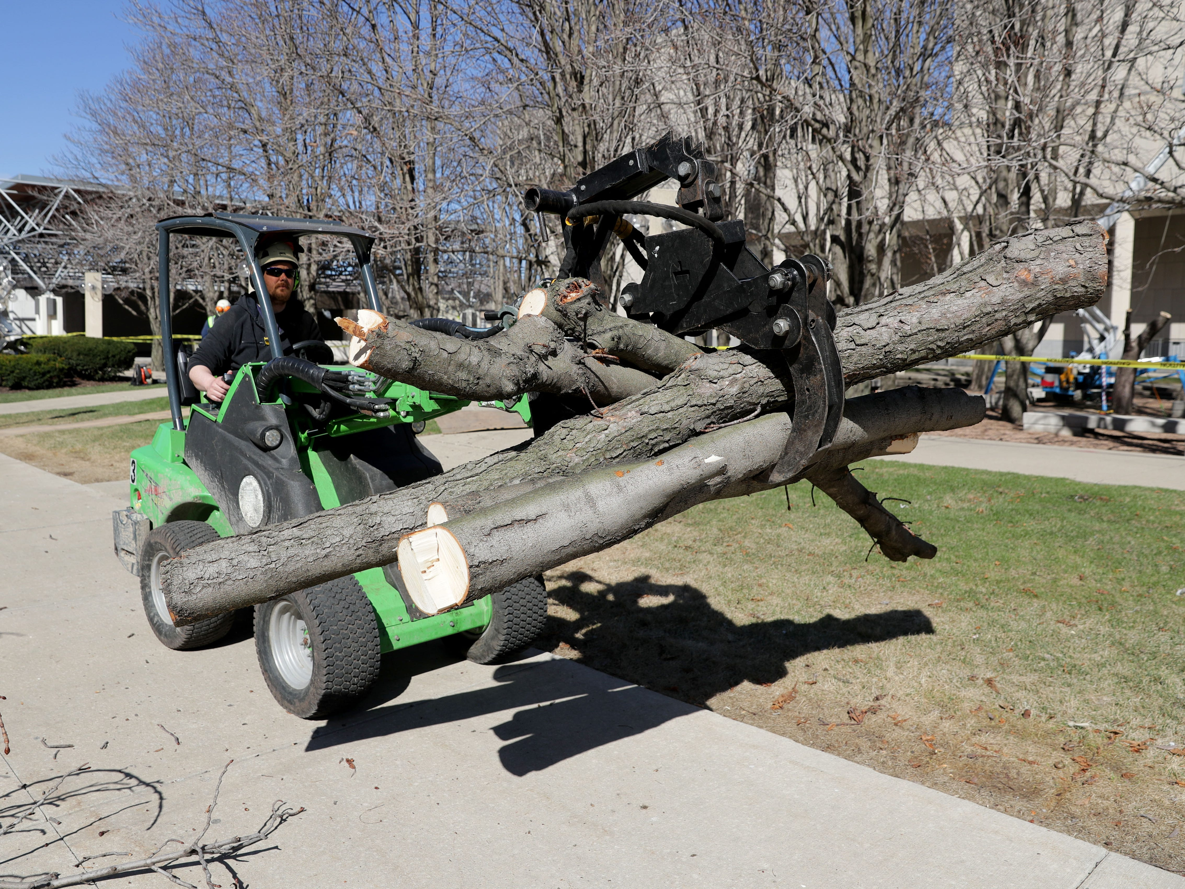 Frank McNutt, with Hoppe Tree Service, uses an articulating loader to remove lumber from cut trees at downtown Milwaukee's Marcus Center for the Performing Arts.
